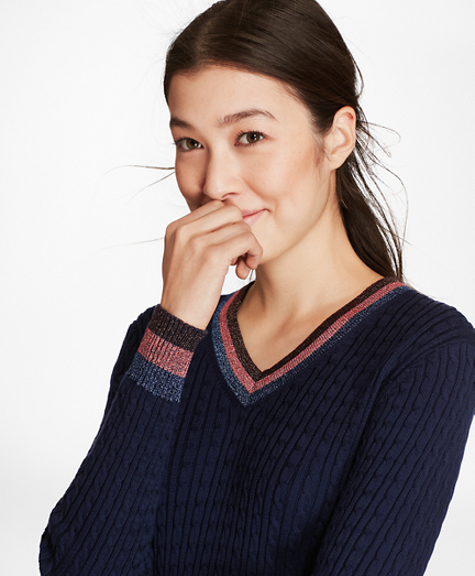 Shimmer-Stripe Cable-Knit Supima® Cotton V-Neck Sweater