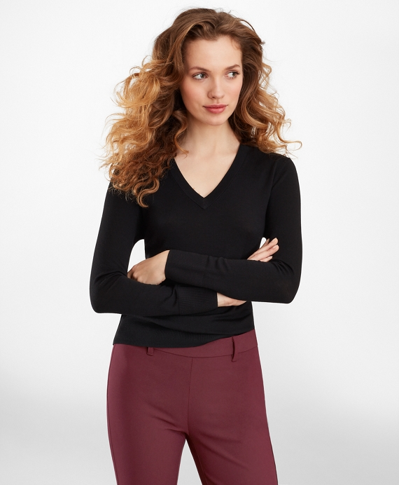 Merino Wool V-Neck Sweater Black