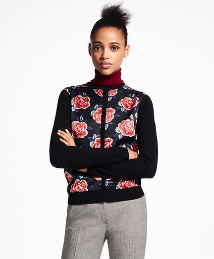 Rose-Print Mixed-Media Cardigan