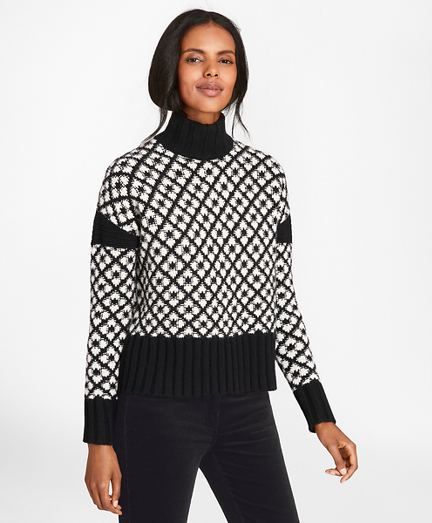 Geometric Jacquard Lambswool Turtleneck Sweater