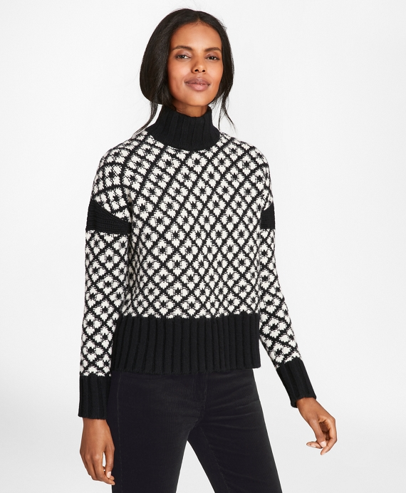 Geometric Jacquard Lambswool Turtleneck Sweater by Brooks Brothers
