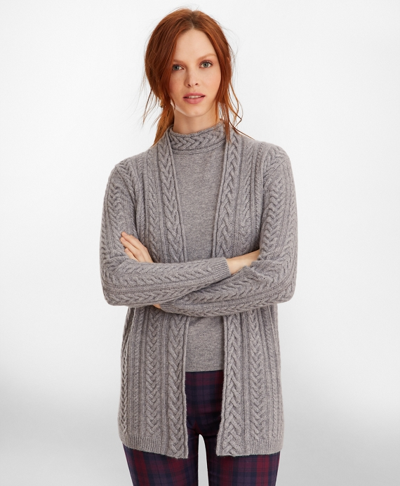 Cable-Knit Cashmere Duster Cardigan Grey