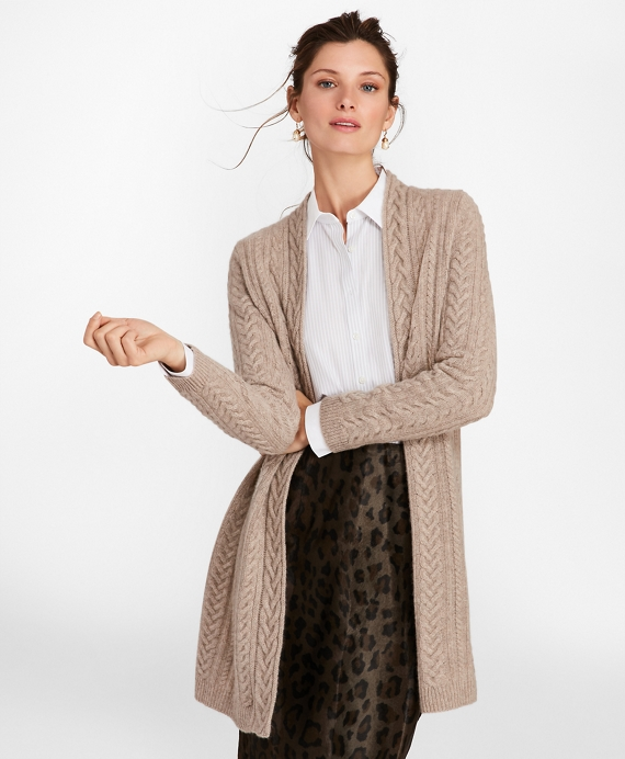 Cable Knit Cashmere Duster Cardigan Brooks Brothers
