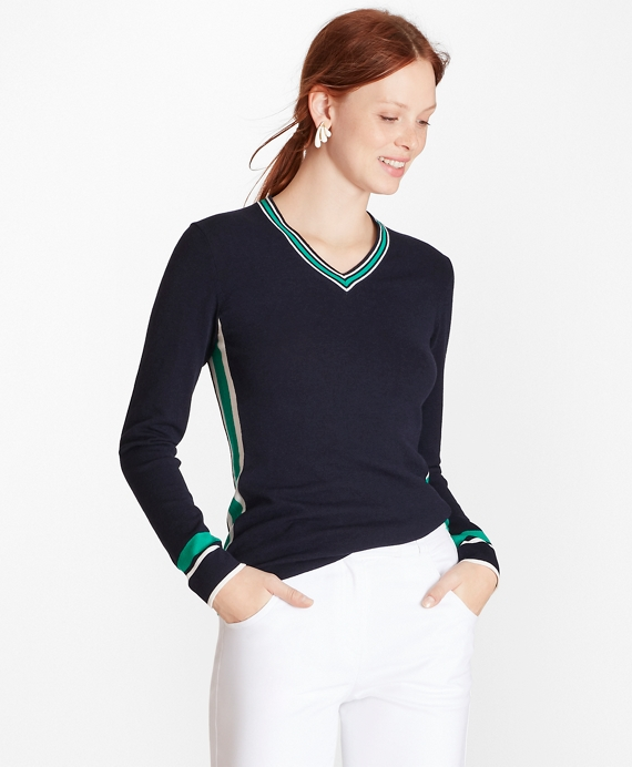 Stripe-Trim V-Neck Sweater Navy
