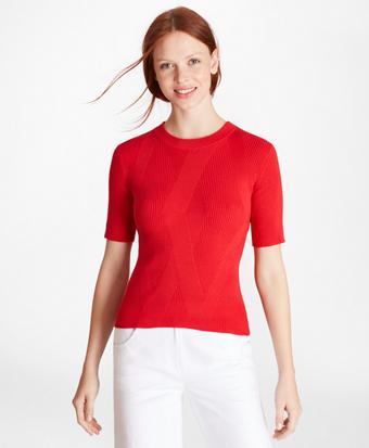 Diamond-Knit Supima® Cotton Short-Sleeve Shell