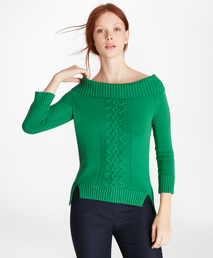Supima® Cotton Portrait-Neck Sweater