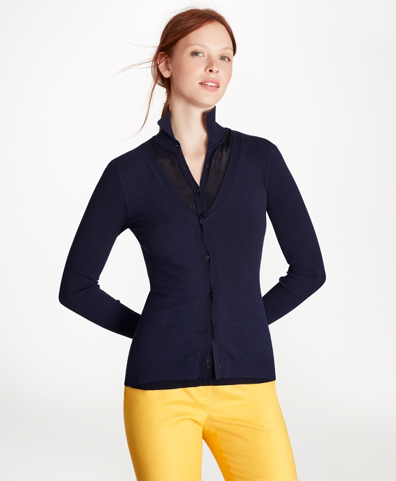 Cotton-Blend Pointelle Two-in-One Sweater Navy