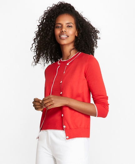 Tipped Supima® Cotton Cardigan