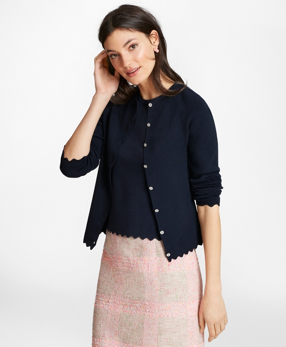 Supima® Cotton Pointelle Scalloped Cardigan Navy