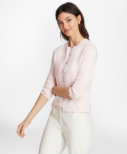 Supima® Cotton Pointelle Scalloped Cardigan