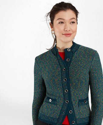Shimmer Tweed Sweater Jacket