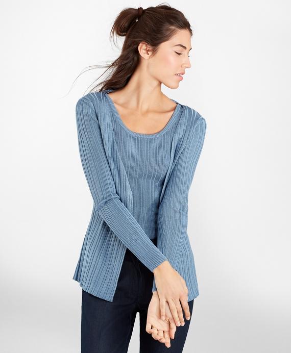 Metallic Rib-Knit Cardigan Blue