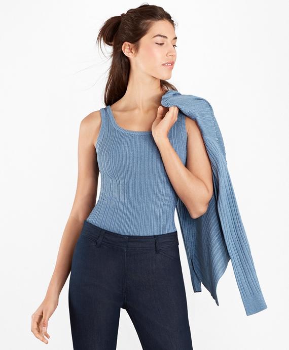 Metallic Rib-Knit Shell Blue