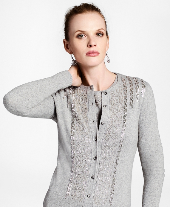 Wool-Cashmere-Blend Beaded Cardigan Grey