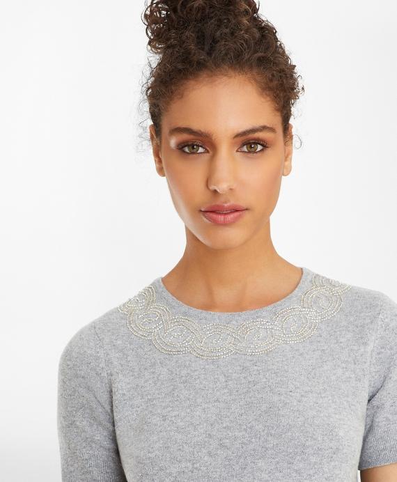 Wool-Cashmere-Blend Beaded Short Sleeve Shell Grey