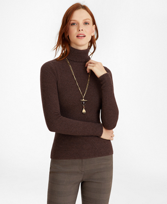 Tuck-Stitch Cashmere Turtleneck Sweater