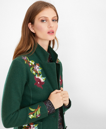 Floral-Embroidered Merino Wool Jacket