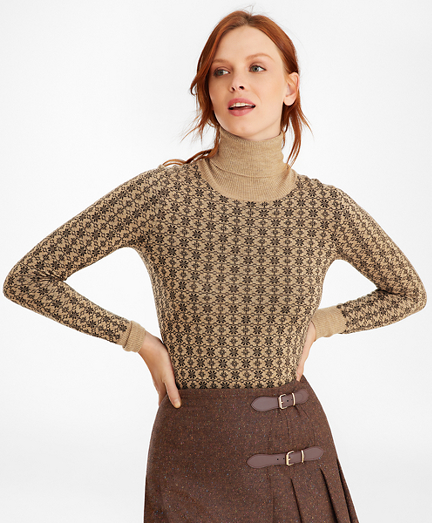 Floral-Jacquard Merino Wool Turtleneck Sweater