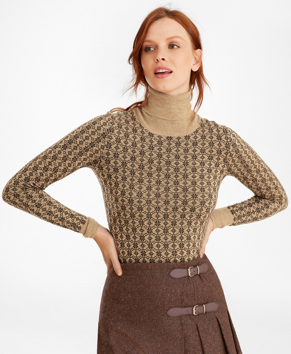 Floral-Jacquard Merino Wool Turtleneck Sweater Camel