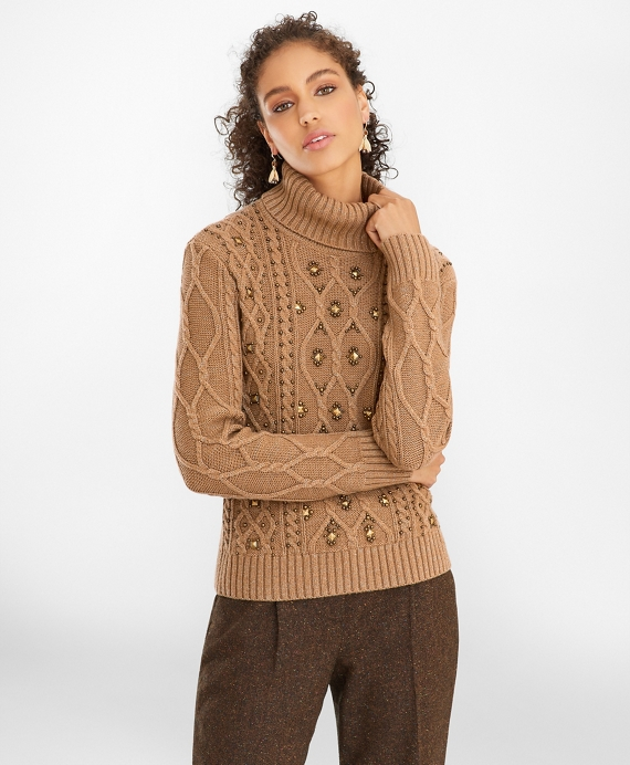 Beaded Cable-Knit Sweater Light Brown