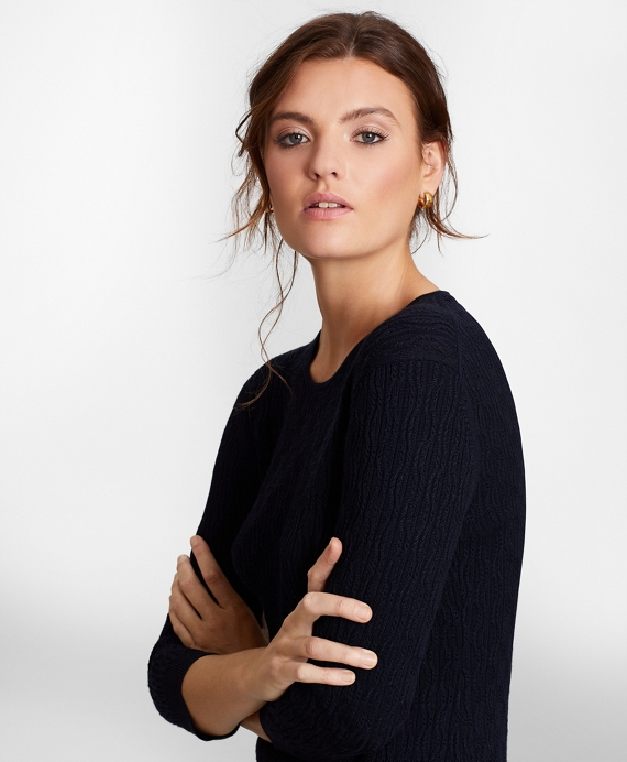 Cable-Knit Supima® Cotton-Blend Sweater Navy