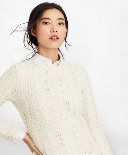 Supima® Cotton Pointelle Cable-Knit Sweater