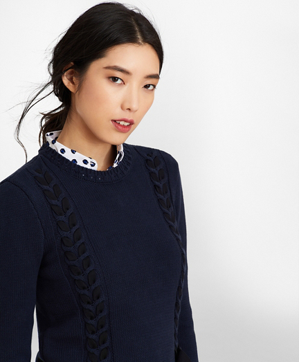 Grosgrain-Trimmed Supima® Cotton Cable-Knit Sweater