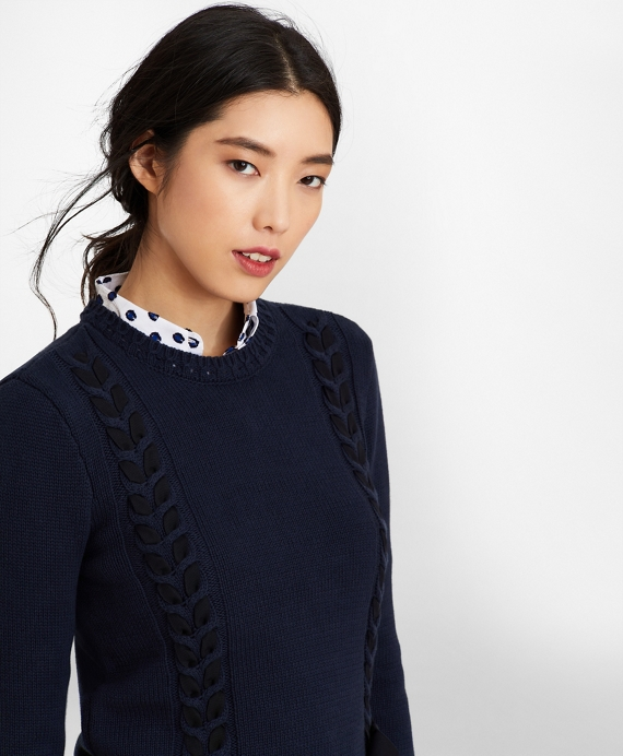 Grosgrain-Trimmed Supima® Cotton Cable-Knit Sweater Navy