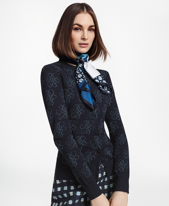 Shimmer-Knit Supima® Cotton-Blend Signature Cardigan Navy