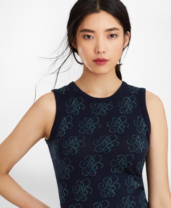 Shimmer-Knit Supima® Cotton-Blend Signature Shell Navy