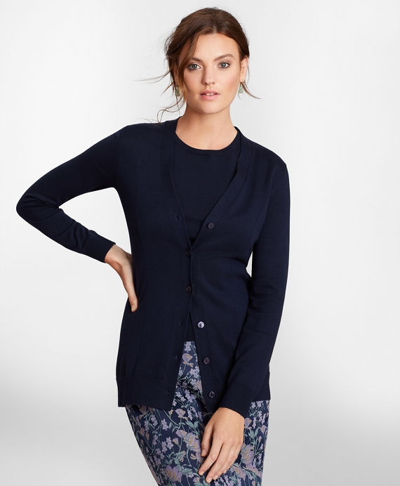 Supima® Cotton Long Cardigan Navy