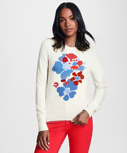 Floral-Patterned Silk-Cashmere Sweater