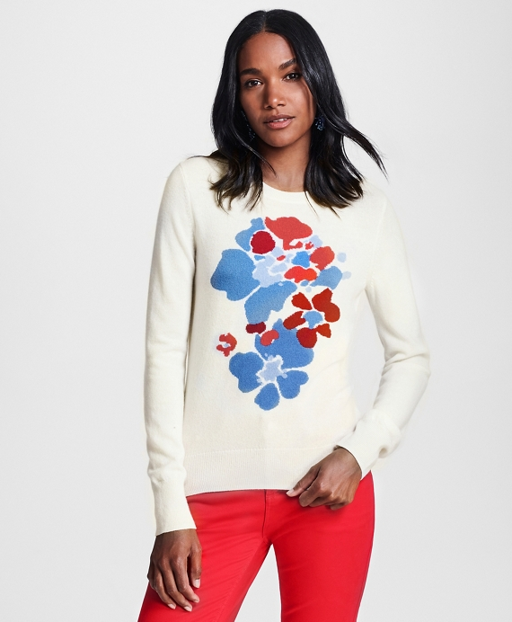 Floral-Patterned Silk-Cashmere Sweater Ivory