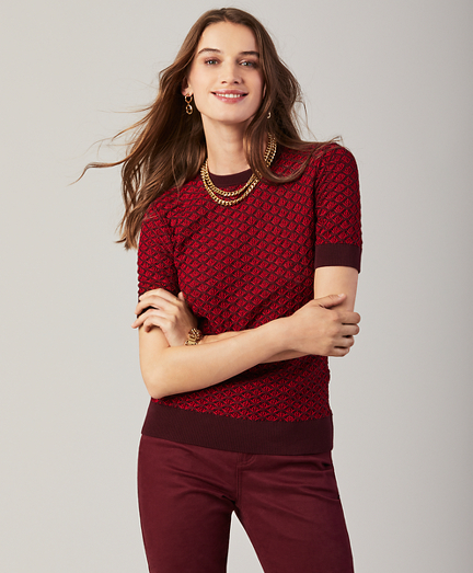 Textured Short-Sleeve Sweater