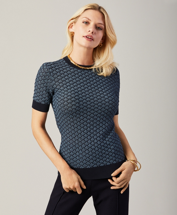 Textured Short-Sleeve Sweater Navy