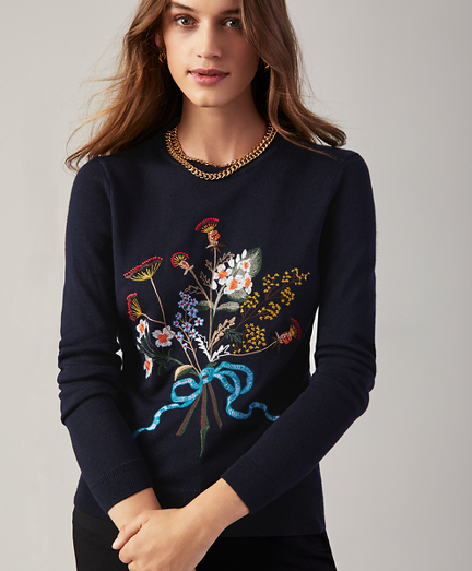Floral-Embroidered Silk-Cashmere Sweater