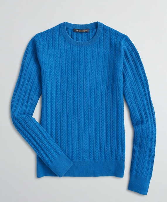 Chain-Stitch Cashmere Sweater Blue