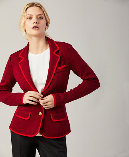 Merino Wool Milano-Knit Rowing Blazer