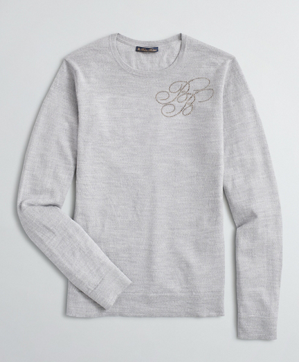 Rhinestone-Embellished Merino Sweater