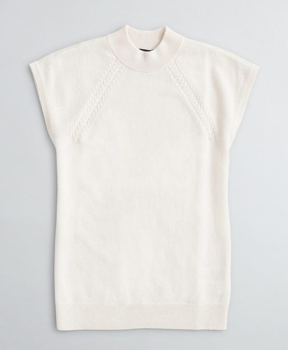Cashmere Braided Mockneck Shell Cream