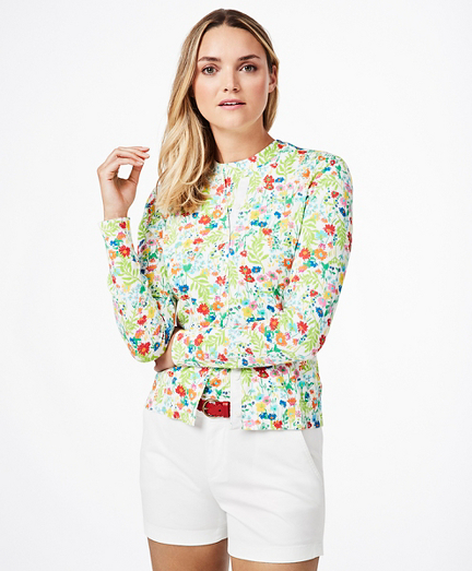 Floral-Print Supima® Cotton Cardigan