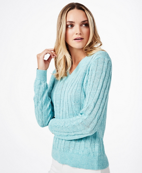 Cable-Knit Linen Sweater Blue