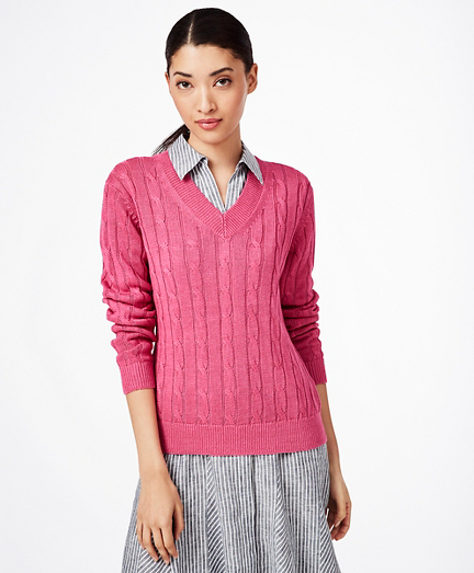 Cable-Knit Linen Sweater