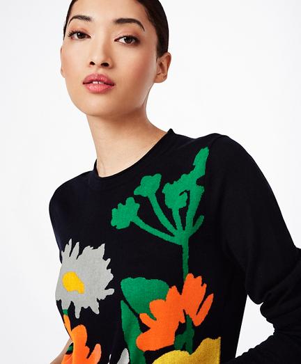 Floral Silk-Cashmere Sweater
