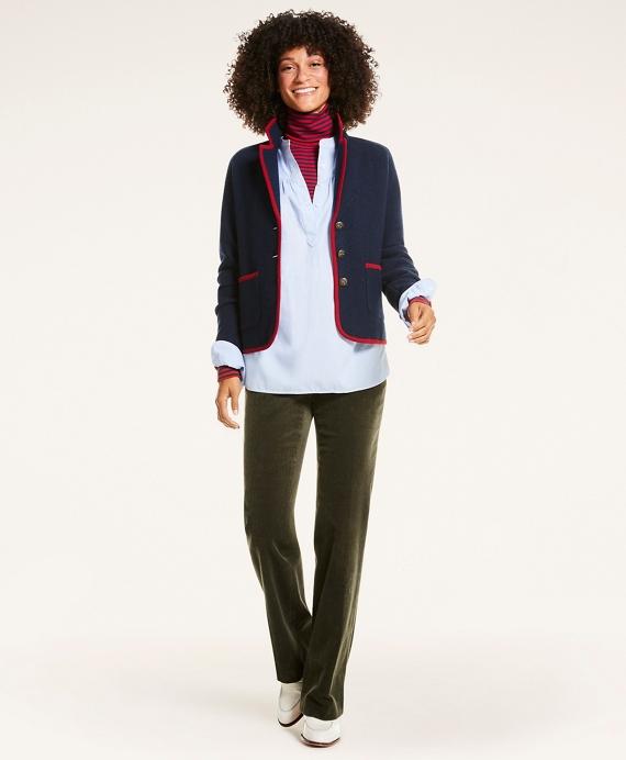 Merino Wool Contrast-Trim Sweater Jacket Navy