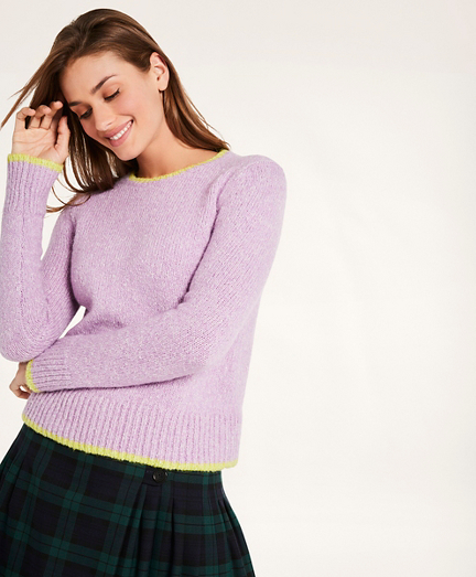 Wool-Cotton Blend Tipped Sweater