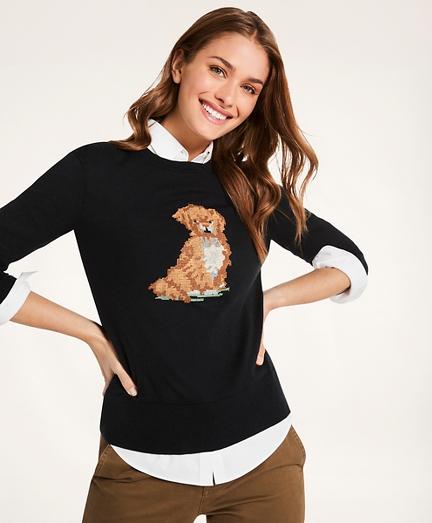 Cotton-Cashmere Needlepoint Dog Sweater