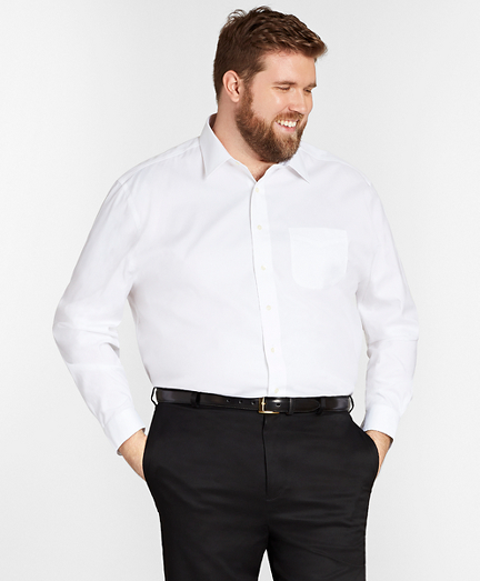 Stretch Big & Tall Dress Shirt, Non-Iron Pinpoint Spread Collar