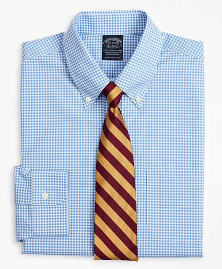 Brooksbrothers Stretch Big & Tall Dress Shirt, Non-Iron Poplin Button-Down Collar Gingham