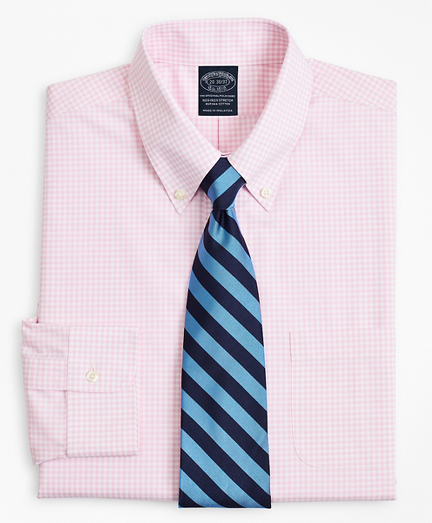 Stretch Big & Tall Dress Shirt, Non-Iron Poplin Button-Down Collar Gingham